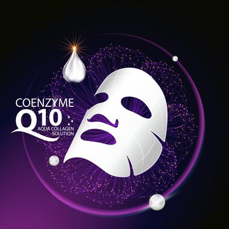 Coenzima Q10 máscara de soro e Fundo do conceito Skin Care Cosméticos.