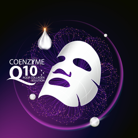 coenzyme q10 Mask Serum and Background Concept Skin Care Cosmetic. 版權商用圖片 - 60113014
