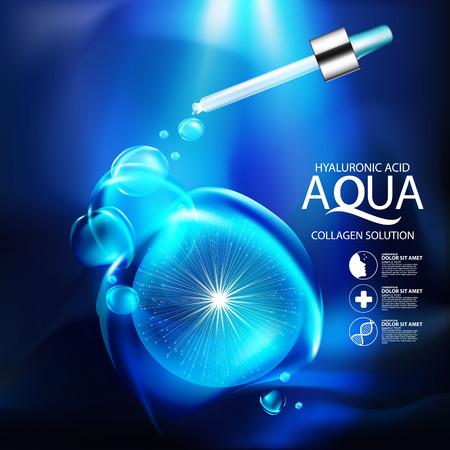 serum: aqua skin collagen Serum and Background Concept Skin Care Cosmetic.
