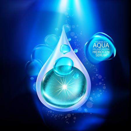 complexion: aqua skin collagen Serum and Background Concept Skin Care Cosmetic.
