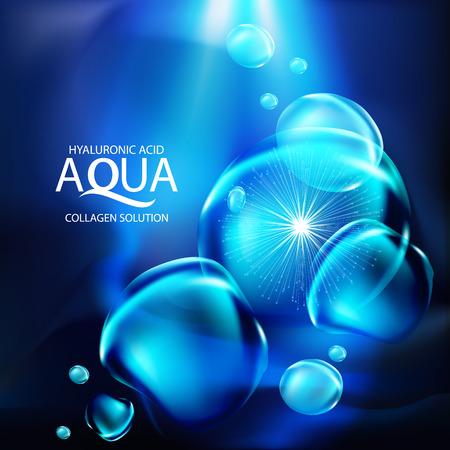 Aqua Haut Kollagen Serum und Hintergrund Konzept kosmetische Hautpflege. Standard-Bild - 60112915
