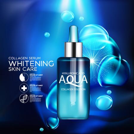 productos naturales: aqua colágeno de la piel Suero y el concepto de Fondo de la piel Cuidado de la cosmética. Vectores