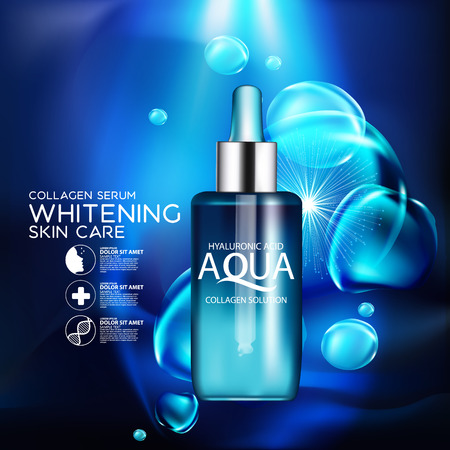 aqua background: aqua skin collagen Serum and Background Concept Skin Care Cosmetic.