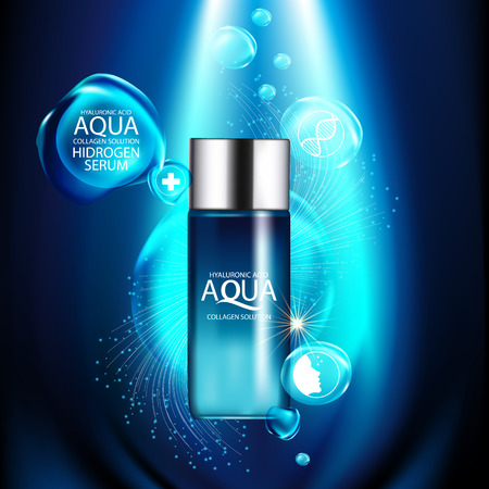 cosmetic product: aqua skin collagen Serum and Background Concept Skin Care Cosmetic.