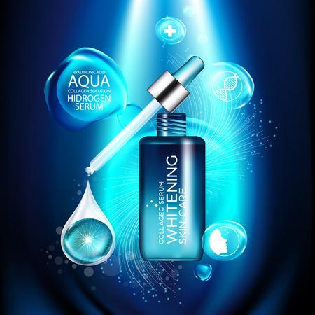 plancton: aqua colágeno de la piel Suero y el concepto de Fondo de la piel Cuidado de la cosmética. Vectores