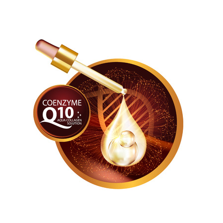 perfect skin: coenzyme q10 Serum and Background Concept Skin Care Cosmetic.