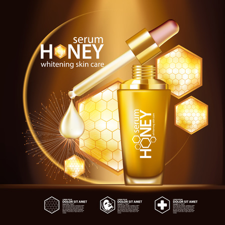 beauty girls: Honey Serum Background Concept Skin Care Cosmetic