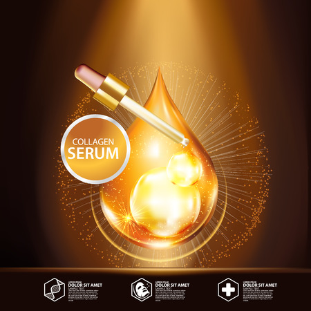 Gold Collagen Serum Background Concept Skin Care Cosmetic 向量圖像