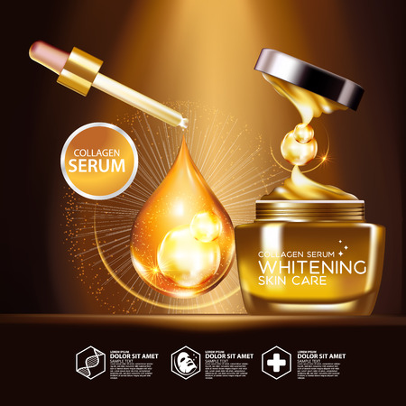 complexion: Gold Collagen Serum Background Concept Skin Care Cosmetic Illustration