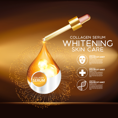 Gold Collagen Serum Background Concept Skin Care Cosmetic Vettoriali