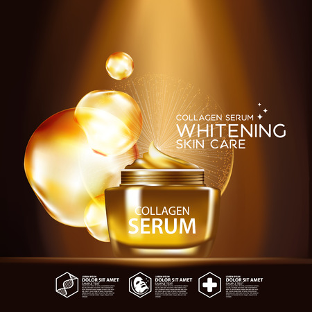 clear skin: Gold Collagen Serum Background Concept Skin Care Cosmetic Illustration