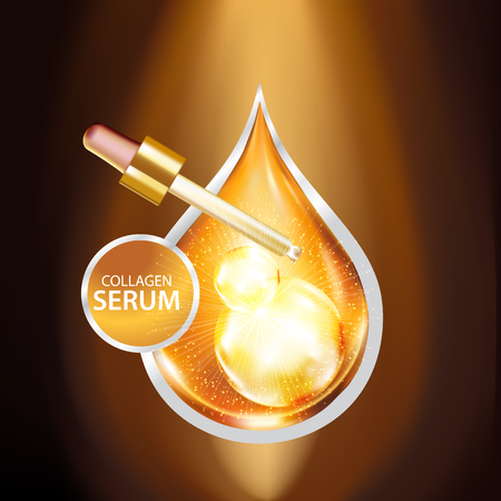 steroid: Gold Collagen Serum Background Concept Skin Care Cosmetic Illustration