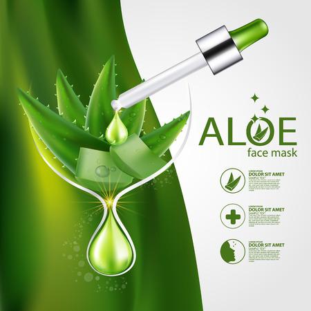 Aloe Vera collagen Serum and Background Concept Skin Care Cosmetic.