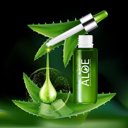 serum: Aloe Vera collagen Serum and Background Concept Skin Care Cosmetic.
