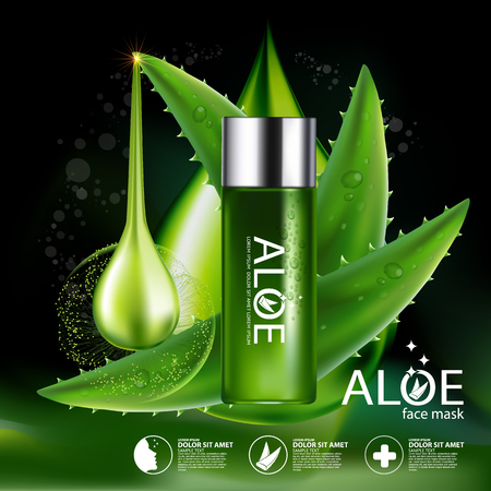 clear skin: Aloe Vera collagen Serum and Background Concept Skin Care Cosmetic.