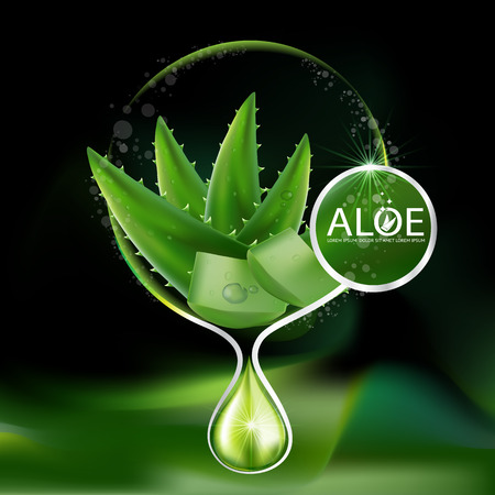 Aloe Vera collagen Serum and Background Concept Skin Care Cosmetic.