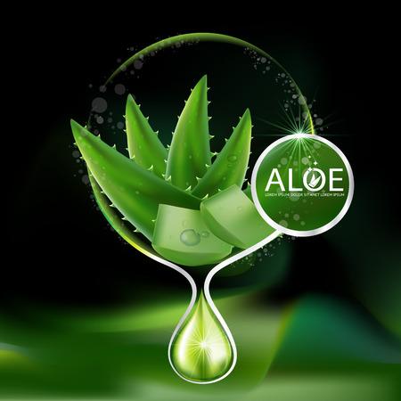 Aloe Vera collagene siero e sfondo concetto di cura della pelle cosmetici. Vettoriali