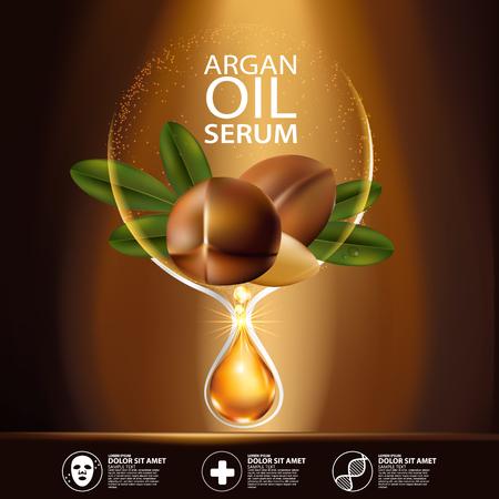 Olej arganowy Serum Pielęgnacja kosmetyczna. Ilustracje wektorowe