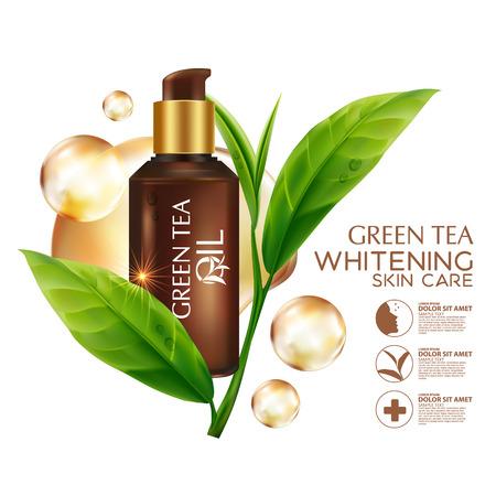 Piel de aceite de té verde cosmética Cuidado. Ilustración de vector