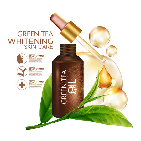Green tea Oil Skin Care Cosmetic. Illustration