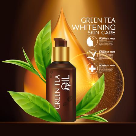 skin oil: Green tea Oil Skin Care Cosmetic. Illustration