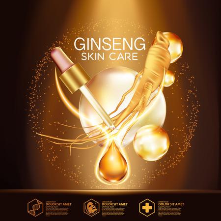 Ginseng suero cosmético de la piel Cuidado Ilustración de vector