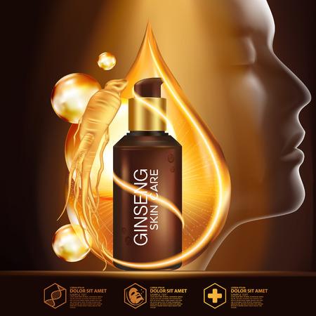 vacunacion: Ginseng suero cosmético de la piel Cuidado Vectores