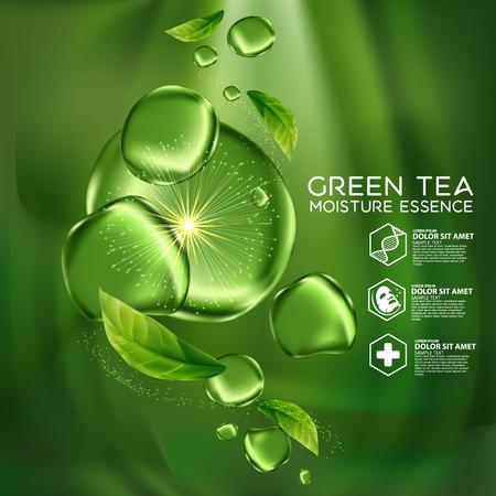 Green Tea Moisture Essence Skin Care Cosmetic.