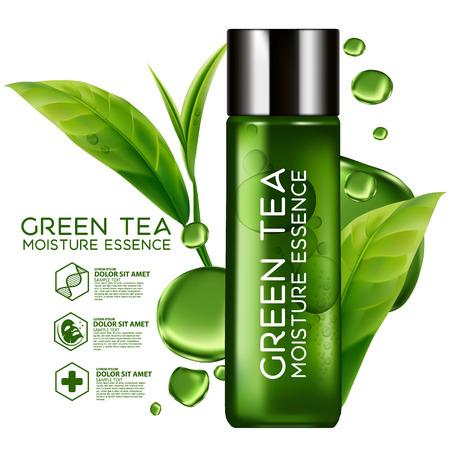 Esencia Hidratante Piel té verde cosmética Cuidado. Ilustración de vector