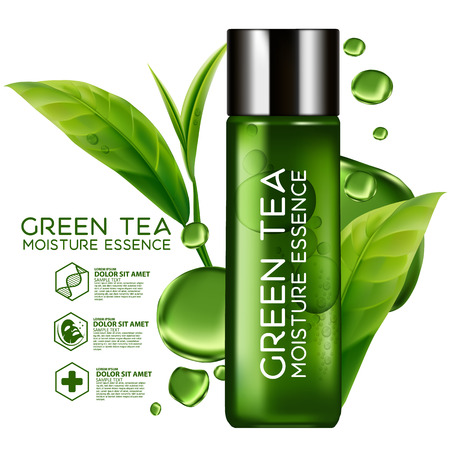 Zielona herbata Wilgoć Essence Skin Care kosmetyczne. Ilustracje wektorowe