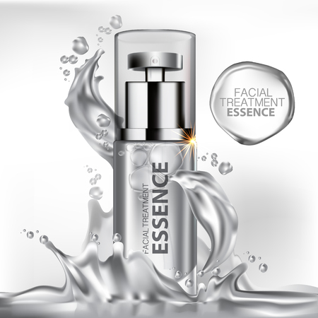 background: Facial Treatment Essence Skin Care Cosmetic. Illustration