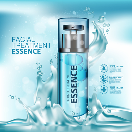 Facial Treatment Essence Skin Care Cosmetic. 向量圖像