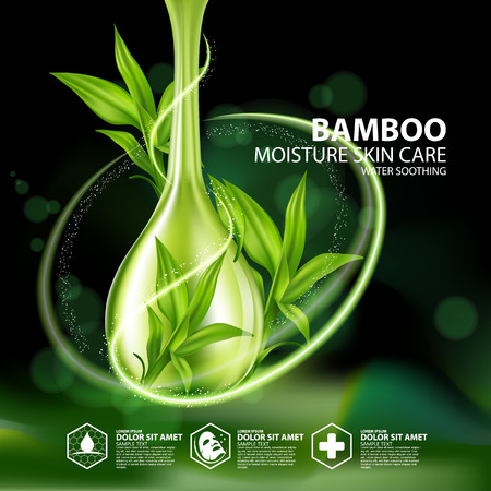 Bamboo Natural Moisture Skin Care Cosmetic. Stock Illustratie