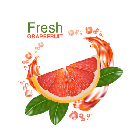 vitamin c: fresh grapefruit vector Illustration