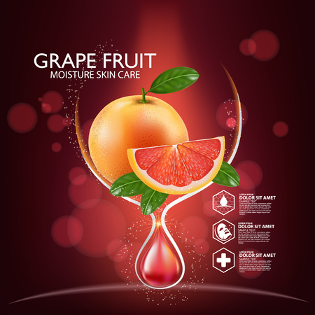 Grapefruit Serum Moisture Skin Care Cosmetic.