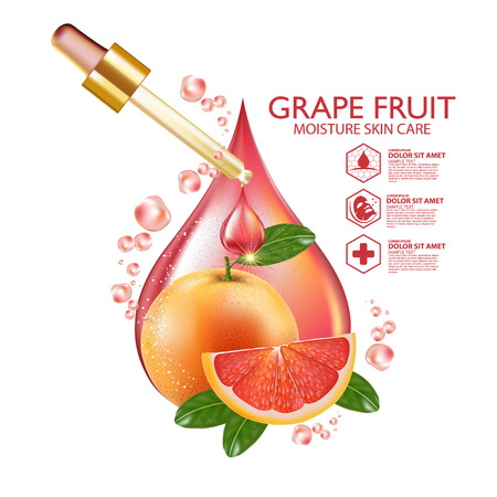 Grapefruit Serum Moisture Skin Care Cosmetic. Illustration