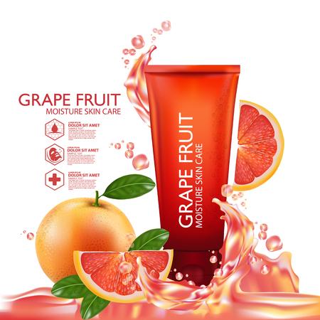 face treatment: Grapefruit Serum Moisture Skin Care Cosmetic. Illustration