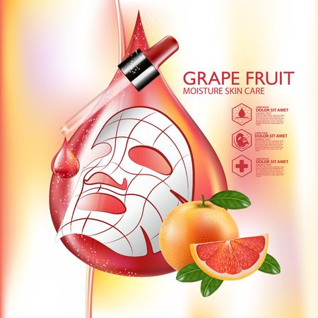 Grapefruit Serum Moisture Skin Care Cosmetic. Illustration
