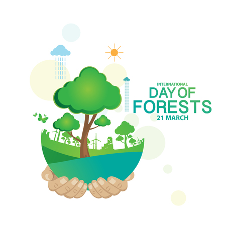 tree farming: International Day of Forests Illustration