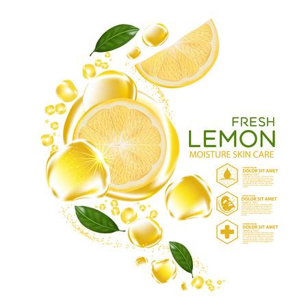 레몬 과일 세럼 수분 스킨 케어 화장품.
