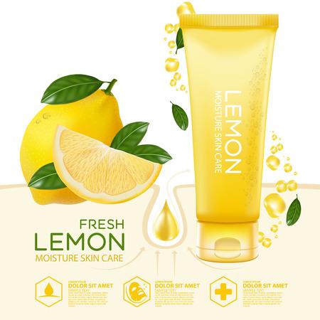 face treatment: Lemon fruit Serum Moisture Skin Care Cosmetic.