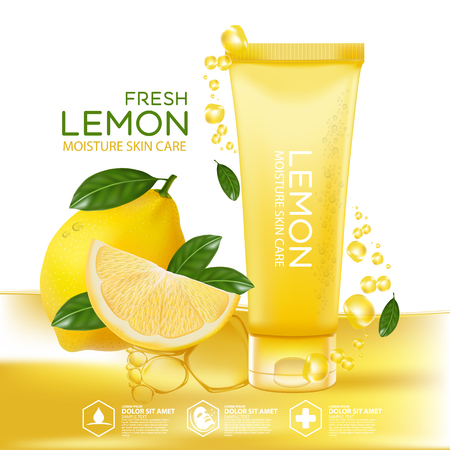 Lemon fruit Serum Moisture Skin Care Cosmetic.