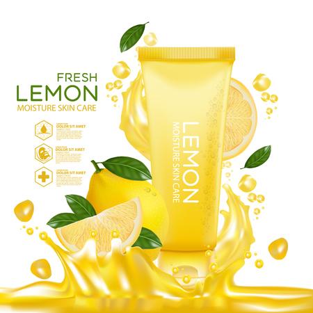 Lemon fruit Serum Moisture Skin Care Cosmetic.