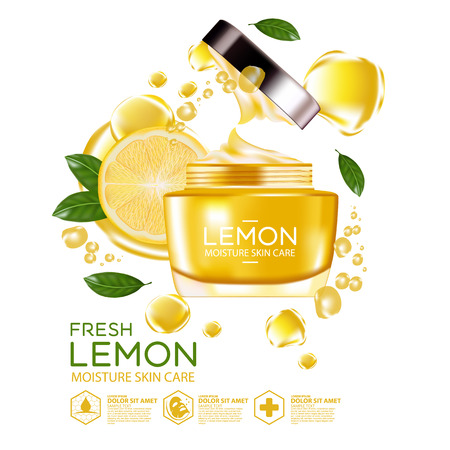vitamin c: lemon fruit Serum Moisture Skin Care Cosmetic.