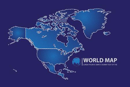 wold map: North America Map design. Illustration