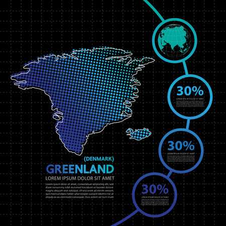 Greenland map infographic design template