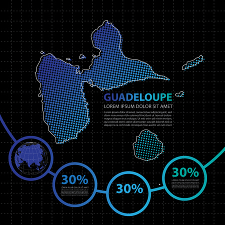 guadeloupe: Guadeloupe map infographic design template