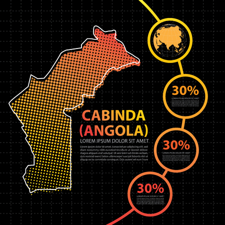 Cabinda angola map infographic design template