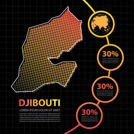 Djibouti map infographic design template Illustration