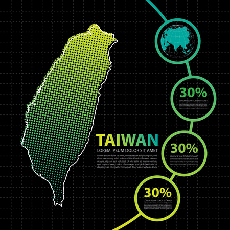 Taiwan map infographic design template